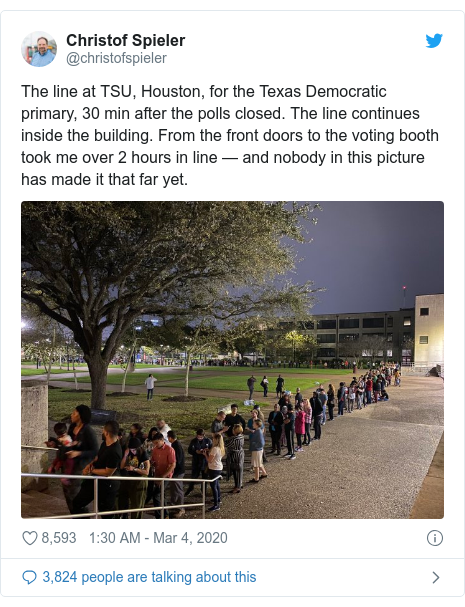 Twitter post by @christofspieler: The line at TSU, Houston, for the Texas Democratic primary, 30 min after the polls closed. The line continues inside the building. From the front doors to the voting booth took me over 2 hours in line — and nobody in this picture has made it that far yet.