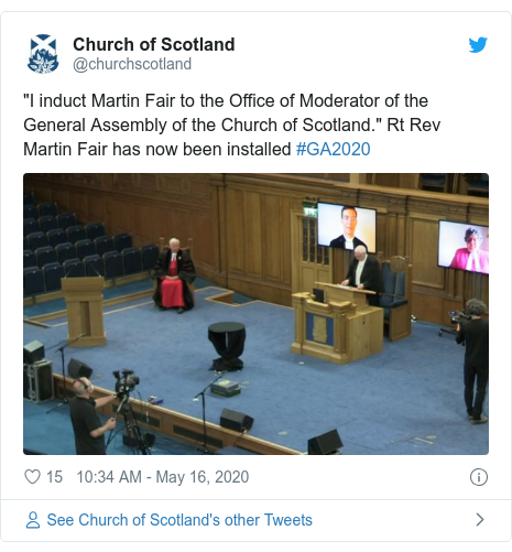 """Twitter post by @churchscotland: """"I induct Martin Fair to the Office of Moderator of the General Assembly of the Church of Scotland."""" Rt Rev Martin Fair has now been installed #GA2020"""