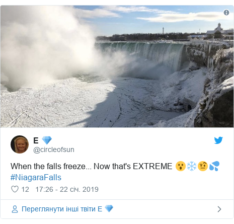 Twitter допис, автор: @circleofsun: When the falls freeze... Now that's EXTREME 😮❄️🤨💦#NiagaraFalls