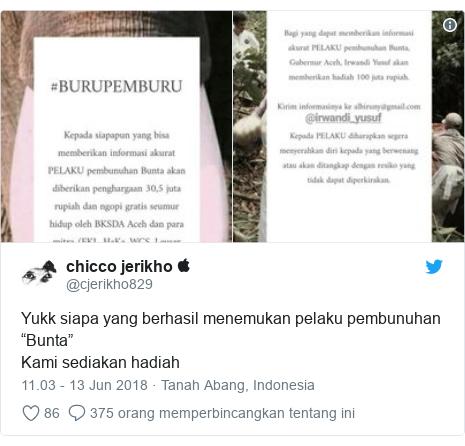 """Twitter pesan oleh @cjerikho829: Yukk siapa yang berhasil menemukan pelaku pembunuhan """"Bunta""""Kami sediakan hadiah"""
