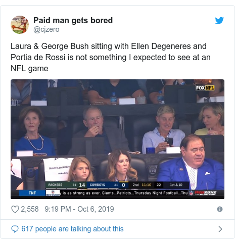Twitter post by @cjzero: Laura & George Bush sitting with Ellen Degeneres and Portia de Rossi is not something I expected to see at an NFL game