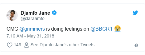 Twitter post by @claraamfo: OMG @grimmers is doing feelings on @BBCR1 😭