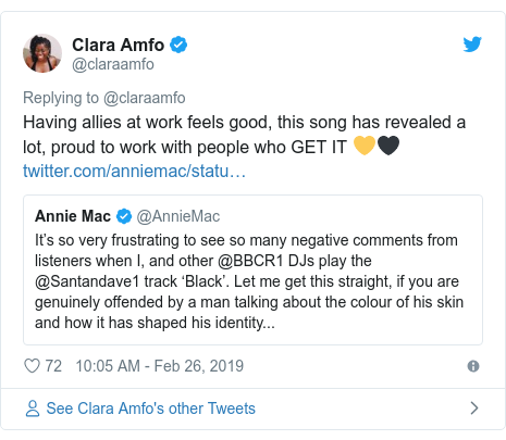 Twitter post by @claraamfo: Having allies at work feels good, this song has revealed a lot, proud to work with people who GET IT 💛🖤