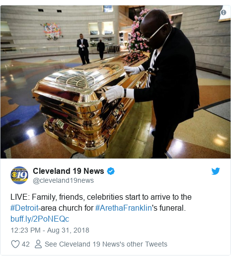 Twitter post by @cleveland19news: LIVE  Family, friends, celebrities start to arrive to the #Detroit-area church for #ArethaFranklin's funeral.
