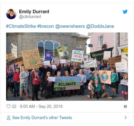 Twitter post by @cllrdurrant: #ClimateStrike #brecon @owensheers @DoddsJane