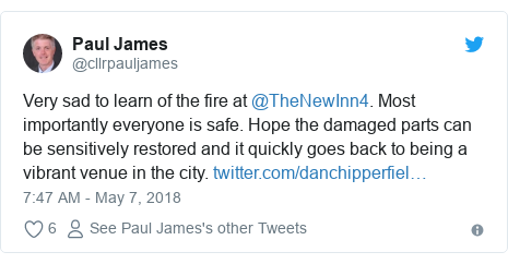 Twitter post by @cllrpauljames: Very sad to learn of the fire at @TheNewInn4. Most importantly everyone is safe. Hope the damaged parts can be sensitively restored and it quickly goes back to being a vibrant venue in the city.