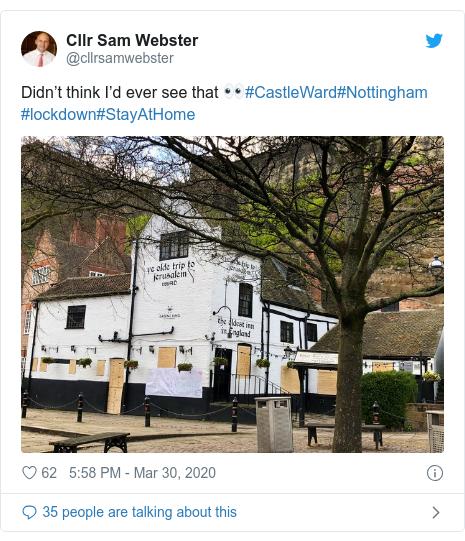Twitter post by @cllrsamwebster: Didn't think I'd ever see that 👀#CastleWard#Nottingham #lockdown#StayAtHome