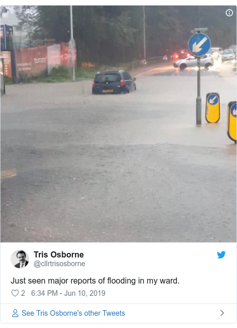 Twitter post by @cllrtrisosborne: Just seen major reports of flooding in my ward.