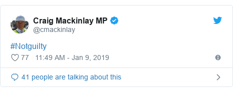 Twitter post by @cmackinlay: #Notguilty