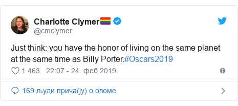 Twitter post by @cmclymer: Just think  you have the honor of living on the same planet at the same time as Billy Porter.#Oscars2019