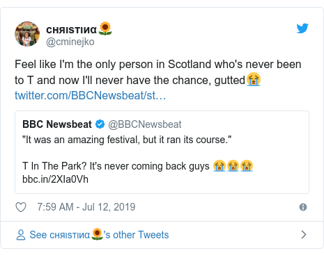 Twitter post by @cminejko: Feel like I'm the only person in Scotland who's never been to T and now I'll never have the chance, gutted😭