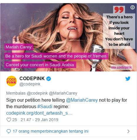 Twitter pesan oleh @codepink: Sign our petition here telling @MariahCarey not to play for the murderous #Saudi regime
