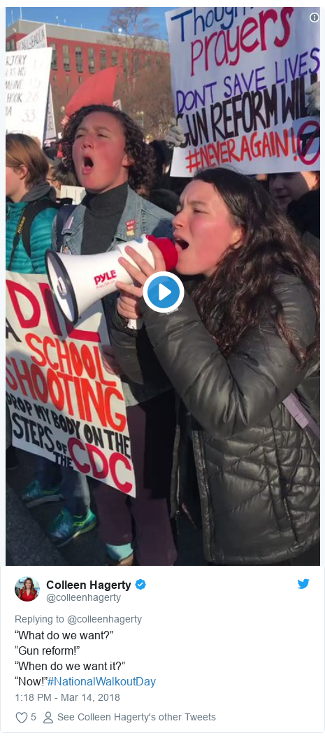 """Twitter post by @colleenhagerty: """"What do we want?""""""""Gun reform!""""""""When do we want it?""""""""Now!""""#NationalWalkoutDay"""
