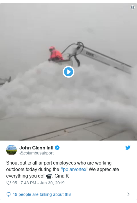 Twitter post by @columbusairport: Shout out to all airport employees who are working outdoors today during the #polarvortex! We appreciate everything you do! 📹  Gina K