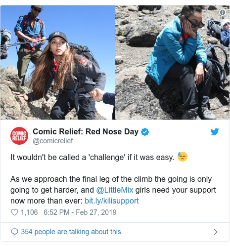 Twitter post by @comicrelief: Red Nose Day  It wouldn't be called a 'challenge' if it was easy. 😓As we approach the final leg of the climb the going is only going to get harder, and @LittleMix girls need your support now more than ever