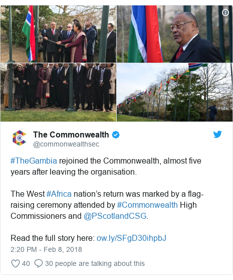 Twitter post by @commonwealthsec: #TheGambia rejoined the Commonwealth, almost five years after leaving the organisation. The West #Africa nation's return was marked by a flag-raising ceremony attended by #Commonwealth High Commissioners and @PScotlandCSG. Read the full story here