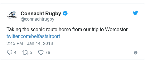 Twitter post by @connachtrugby: Taking the scenic route home from our trip to Worcester....