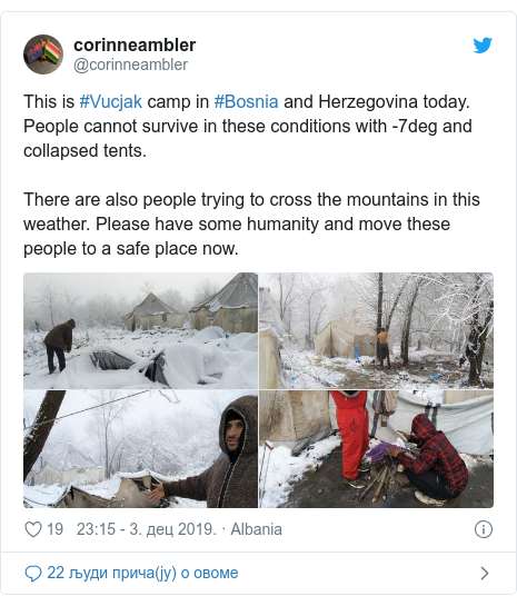 Twitter post by @corinneambler: This is #Vucjak camp in #Bosnia and Herzegovina today. People cannot survive in these conditions with -7deg and collapsed tents.There are also people trying to cross the mountains in this weather. Please have some humanity and move these people to a safe place now.