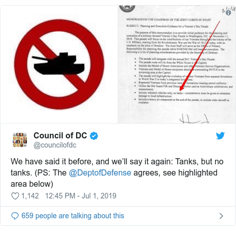 Twitter post by @councilofdc: We have said it before, and we'll say it again  Tanks, but no tanks. (PS  The @DeptofDefense agrees, see highlighted area below)