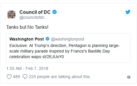 Twitter post by @councilofdc: Tanks but No Tanks!