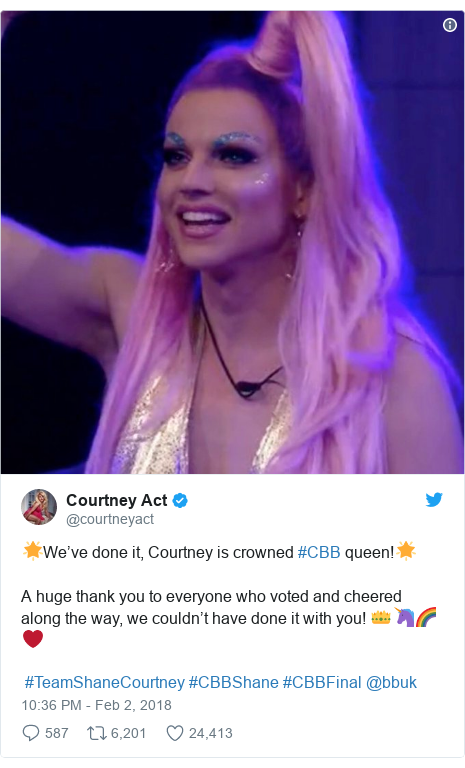 Twitter post by @courtneyact: 🌟We've done it, Courtney is crowned #CBB queen!🌟 A huge thank you to everyone who voted and cheered along the way, we couldn't have done it with you! 👑🦄🌈❤️ #TeamShaneCourtney #CBBShane #CBBFinal @bbuk