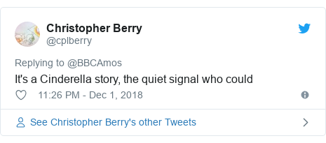 Twitter post by @cplberry: It's a Cinderella story, the quiet signal who could