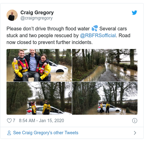 Twitter post by @craigmgregory: Please don't drive through flood water 💦 Several cars stuck and two people rescued by @RBFRSofficial. Road now closed to prevent further incidents.