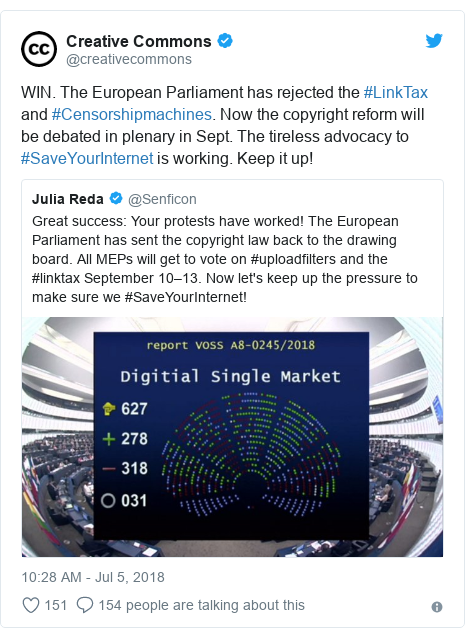 Twitter post by @creativecommons: WIN. The European Parliament has rejected the #LinkTax and #Censorshipmachines. Now the copyright reform will be debated in plenary in Sept. The tireless advocacy to #SaveYourInternet is working. Keep it up!