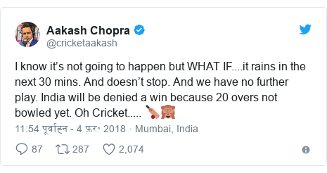 ट्विटर पोस्ट @cricketaakash: I know it's not going to happen but WHAT IF....it rains in the next 30 mins. And doesn't stop. And we have no further play. India will be denied a win because 20 overs not bowled yet. Oh Cricket..... 🏏🙈
