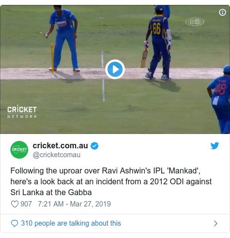 Twitter හි @cricketcomau කළ පළකිරීම: Following the uproar over Ravi Ashwin's IPL 'Mankad', here's a look back at an incident from a 2012 ODI against Sri Lanka at the Gabba