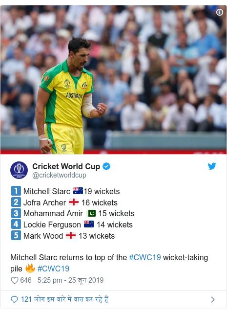 ट्विटर पोस्ट @cricketworldcup: 1️⃣ Mitchell Starc 🇦🇺19 wickets2️⃣ Jofra Archer 🏴 16 wickets3️⃣ Mohammad Amir 🇵🇰 15 wickets4️⃣ Lockie Ferguson 🇳🇿 14 wickets5️⃣ Mark Wood 🏴 13 wicketsMitchell Starc returns to top of the #CWC19 wicket-taking pile 🔥 #CWC19