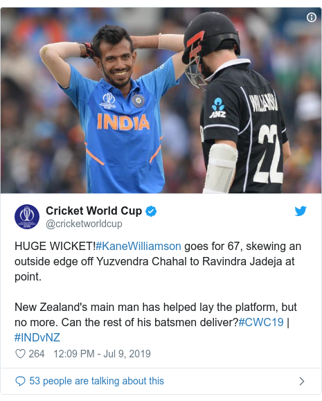 Twitter post by @cricketworldcup: HUGE WICKET!#KaneWilliamson goes for 67, skewing an outside edge off Yuzvendra Chahal to Ravindra Jadeja at point.New Zealand's main man has helped lay the platform, but no more. Can the rest of his batsmen deliver?#CWC19 | #INDvNZ