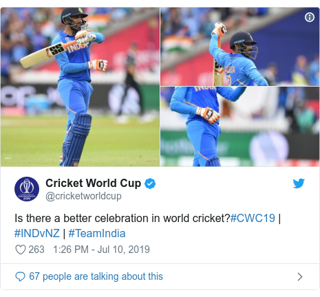 Twitter post by @cricketworldcup: Is there a better celebration in world cricket?#CWC19 | #INDvNZ | #TeamIndia