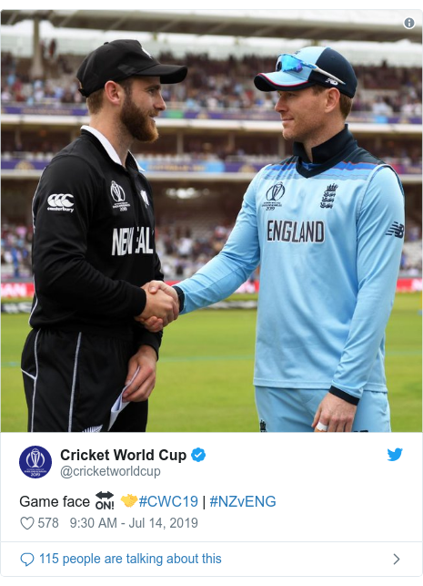 Twitter post by @cricketworldcup: Game face 🔛 🤝#CWC19 | #NZvENG