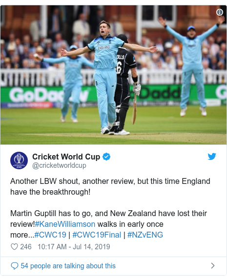 Twitter post by @cricketworldcup: Another LBW shout, another review, but this time England have the breakthrough!Martin Guptill has to go, and New Zealand have lost their review!#KaneWilliamson walks in early once more...#CWC19 | #CWC19Final | #NZvENG