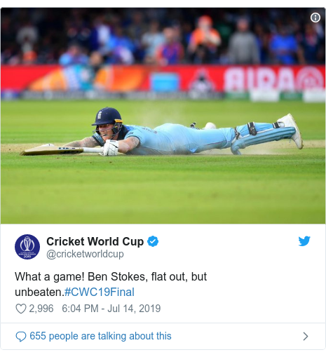 Twitter post by @cricketworldcup: What a game! Ben Stokes, flat out, but unbeaten.#CWC19Final