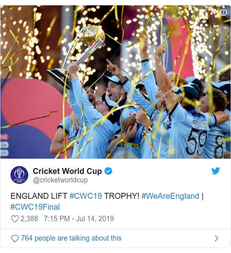 Twitter post by @cricketworldcup: ENGLAND LIFT #CWC19 TROPHY! #WeAreEngland | #CWC19Final
