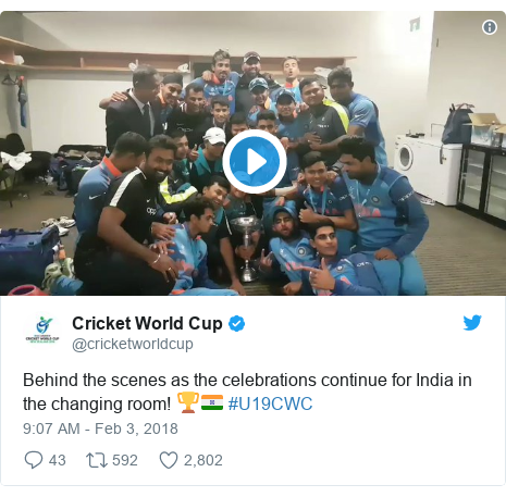 Twitter post by @cricketworldcup: Behind the scenes as the celebrations continue for India in the changing room! 🏆🇮🇳 #U19CWC