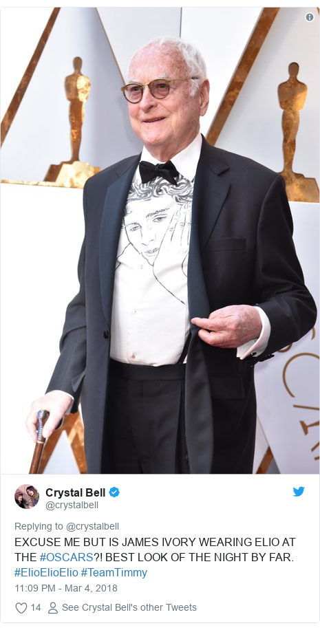 Twitter post by @crystalbell: EXCUSE ME BUT IS JAMES IVORY WEARING ELIO AT THE #OSCARS?! BEST LOOK OF THE NIGHT BY FAR. #ElioElioElio #TeamTimmy