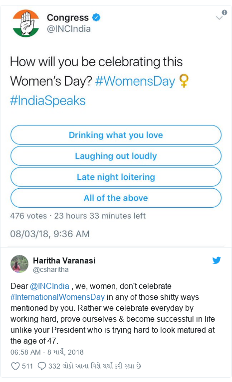 Twitter post by @csharitha: Dear @INCIndia , we, women, don't celebrate #InternationalWomensDay in any of those shitty ways mentioned by you. Rather we celebrate everyday by working hard, prove ourselves & become successful in life unlike your President who is trying hard to look matured at the age of 47.