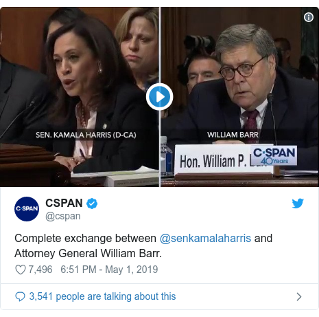 Twitter post by @cspan: Complete exchange between @senkamalaharris and Attorney General William Barr.
