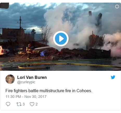 Twitter post by @curleypic: Fire fighters battle multistructure fire in Cohoes.