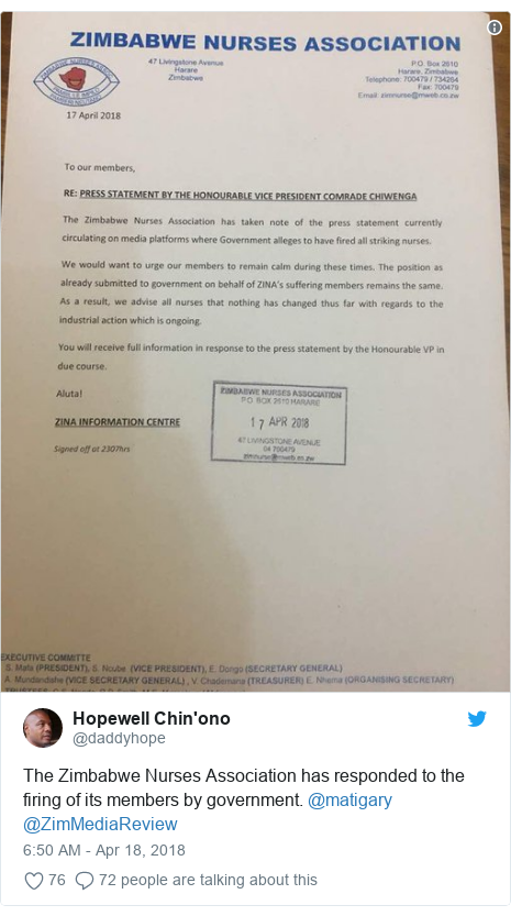 Twitter post by @daddyhope: The Zimbabwe Nurses Association has responded to the firing of its members by government. @matigary @ZimMediaReview