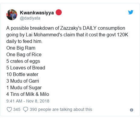 Twitter post by @dadiyata: A possible breakdown of Zazzaky's DAILY consumption going by Lai Mohammed's claim that it cost the govt 120K daily to feed him.One Big Ram One Bag of Rice 5 crates of eggs 5 Loaves of Bread10 Bottle water3 Mudu of Garri1 Mudu of Sugar4 Tins of Milk & Milo