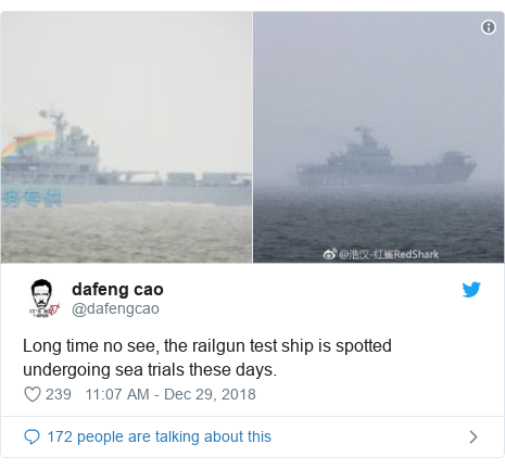 Twitter post by @dafengcao: Long time no see, the railgun test ship is spotted undergoing sea trials these days.