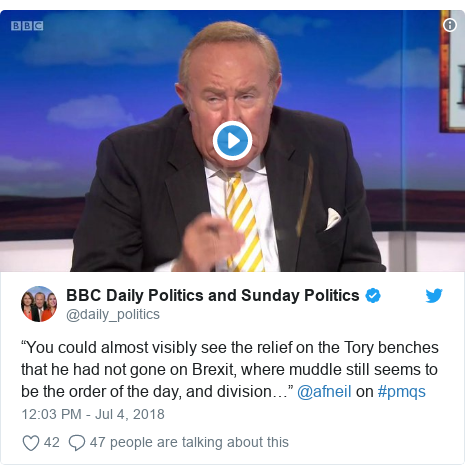 """Twitter post by @daily_politics: """"You could almost visibly see the relief on the Tory benches that he had not gone on Brexit, where muddle still seems to be the order of the day, and division…"""" @afneil on #pmqs"""