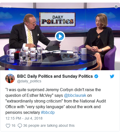 """Twitter post by @daily_politics: """"I was quite surprised Jeremy Corbyn didn't raise the question of Esther McVey"""" says @bbclaurak on """"extraordinarily strong criticism"""" from the National Audit Office with """"very spiky language"""" about the work and pensions secretary #bbcdp"""