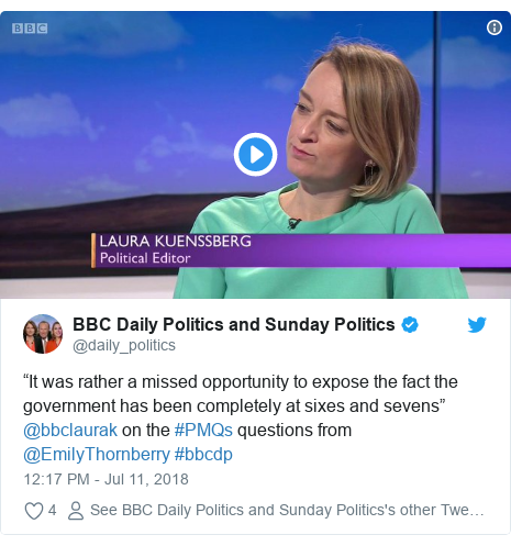 "Twitter post by @daily_politics: ""It was rather a missed opportunity to expose the fact the government has been completely at sixes and sevens"" @bbclaurak on the #PMQs questions from @EmilyThornberry #bbcdp"