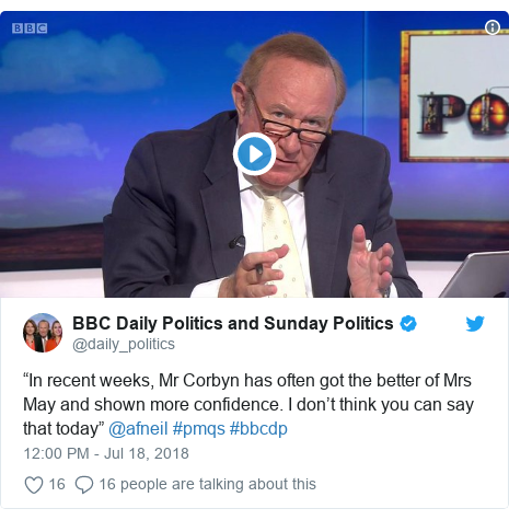 """Twitter post by @daily_politics: """"In recent weeks, Mr Corbyn has often got the better of Mrs May and shown more confidence. I don't think you can say that today"""" @afneil #pmqs #bbcdp"""