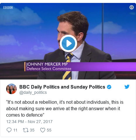 "Twitter post by @daily_politics: ""It's not about a rebellion, it's not about individuals, this is about making sure we arrive at the right answer when it comes to defence"""